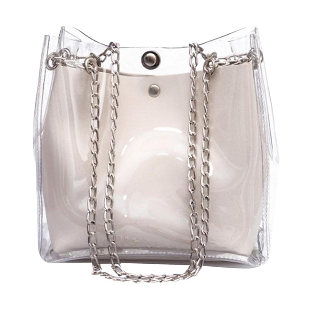 Women Small Bucket Bags Plastic Transparent Totes Composite Chain Bag Female Mini Jelly Handbags bolsa femininaWomen Small Bucket Bags Plastic Transparent Totes Composite Chain Bag Female Mini Jelly Handbags bolsa feminina