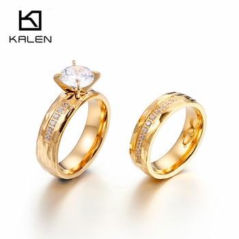 f6bb305bea95 Kalen romántico Zircon anillos de diamantes de imitación de acero inoxidable  de oro de dedo anillos para las mujeres boda banda anillos de joyería