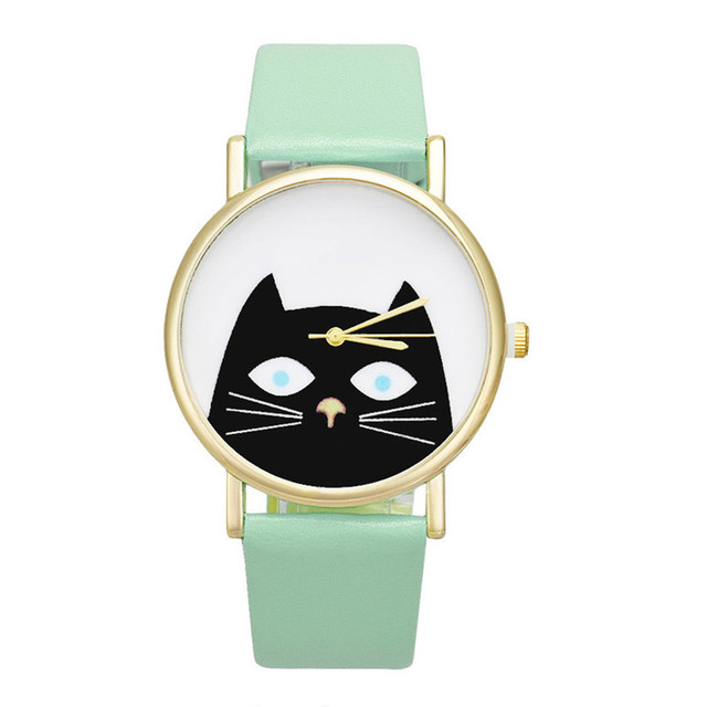 Lovely Cat Face Quartz Wrist Watche