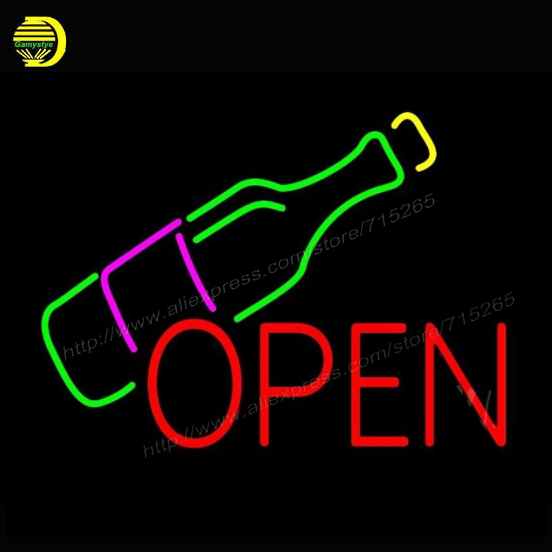 Neon Sign Open Wine Bottle neon signs for bar Neon Lamp Glass Tube Neon Bulbs Handcrafted Recreation Home Room Iconic Sign 17x14