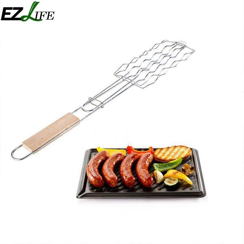 Metal Wooden Handle Bbq Accessories Barbecue Tools Sausage Clip Barbecue Clip Vegetable Clip Hot Dog Mesh Clips LPN9777