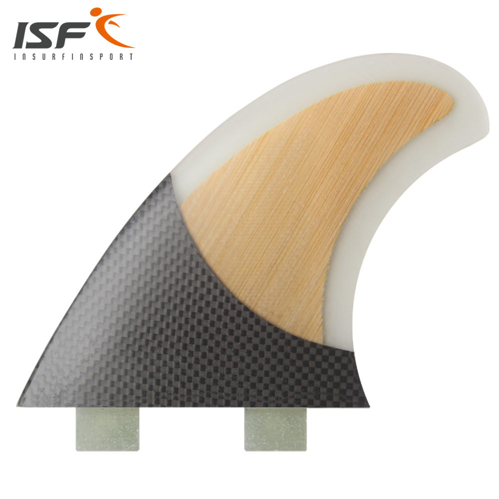 Insurfin Surfboard Fins Four Quad Ffin (4) Set FCS Compatible Carbon & Bamboo Clear Select Color SQ Surf Fin