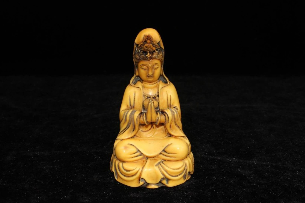 China S Old Hand Carved Bone Carving Guanyin Buddha Statue Figurines Miniatures Aliexpress