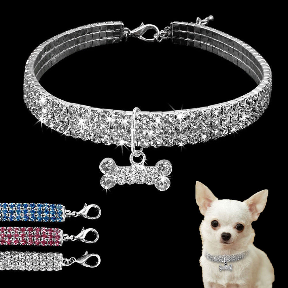Bling Rhinestone Dog Collar Crystal Puppy Chihuahua Pet Dog Collars Leash For Small Medium Dogs Mascotas Accessories S M L Pink deawoo excavator throttle sensor dh stepper motor throttle position sensor excavator spare parts