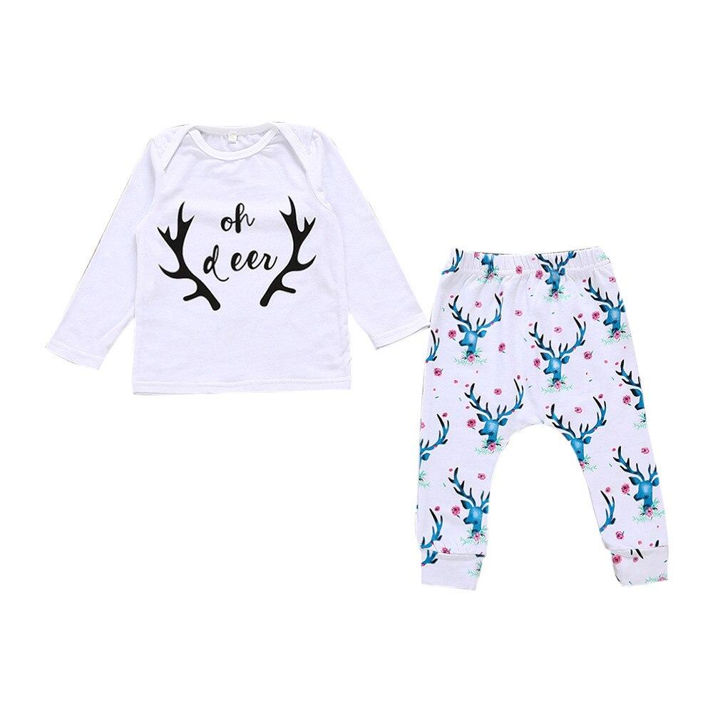 Christmas Costume roupa infantil Newborn Infant Baby Girl Boy Letter Deer T shirt Tops+Pants Outfit Clothes Set girls clothes