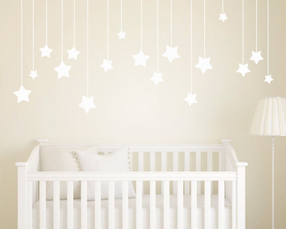 17pcs hanging stars wall stickers for kids room white star baby 17pcs hanging stars wall stickers for kids room white star baby nursery wall decals diy vinyl wall art home decor mural d858 in underwear from mother kids amipublicfo Gallery
