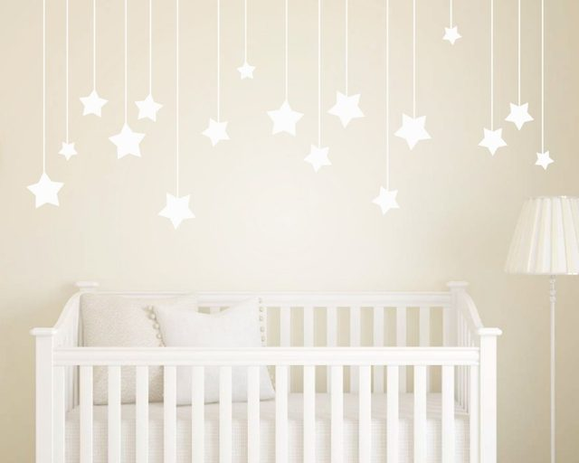 17pcs Hanging Stars Wall Stickers For Kids Room White Star Baby Nursery Wall  Decals DIY Vinyl Wall Art Home Decor Mural D858