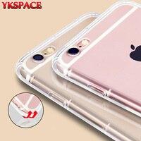 Ykspace卸売50ピースクリアカバーアンチノック柔らかいシリコンtpuケース用iphone 6 6 s 7 8プラス× 5 5 s seクリスタルケース
