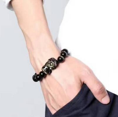 Bracelet puissant en perles de Dragon en or naturel obsidienne PiXiu livraison gratuite