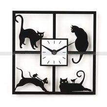 """12 """"H Cuatro Gato Negro Diseño Reloj Reloj Reloj de Pared Moderno del Diseño de Gato Para Estudio Dormitorio Sala de estar En Casa de La Boda decoración"""