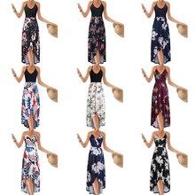 Women V Neck Sleeveless Dress Summer Asymmetrical Patchwork Floral Maxi Dresses  -OPK кольцо opk crytal 193