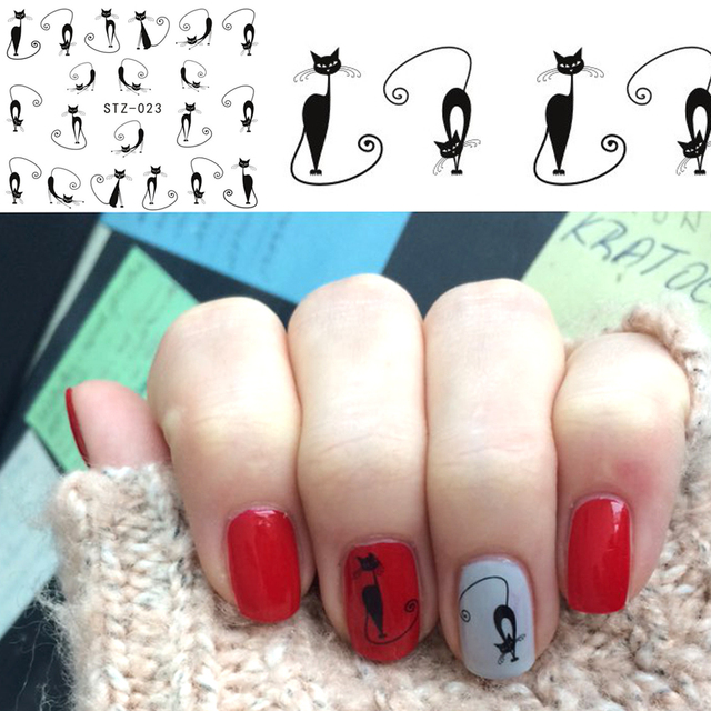 1 Stks Nail Art Water Transfer Sticker Decals Hot Zwart Lui Kat Diy
