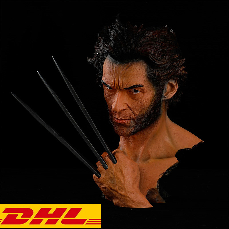 The Avengers X-Men statue Wolverine bust James Howlett 1:1 (LIFE SIZE) Head Portrait Resin Collectible Model Toy Boxed T117 kratos statue the son of zeus 1 1 life size bust god of war half length photo or portrait resin collectible model toy boxed