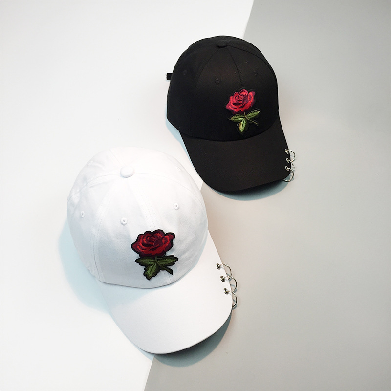 2017 Women New Fashion Hat Brand Cotton Adjustable Female Baseball Cap Rose embroidery Snapback Cap Hip hop Hats with Iron Ring boapt unisex letter embroidery cotton women hat snapback caps men casual hip hop hats summer retro brand baseball cap female