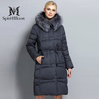 SpiritMoon 2017 Winter Women Thickening Bio Down Jacket Female Hooded Coat Down Parka With Silver Fox