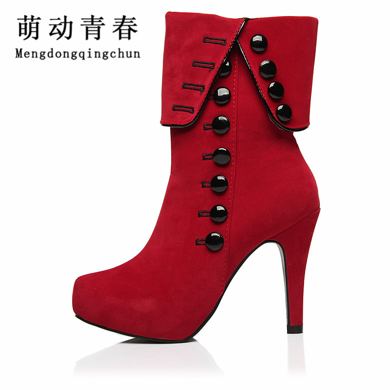 Women Ankle Boots High Heels 2016 Fashion Red Shoes Woman Platform Flock Buckle Winter Boots Ladies Shoes Female Botas Femininas