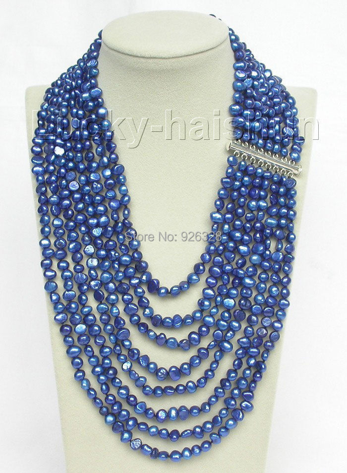 17 24 8row baroque navy blue pearls necklace 925 silver clasp