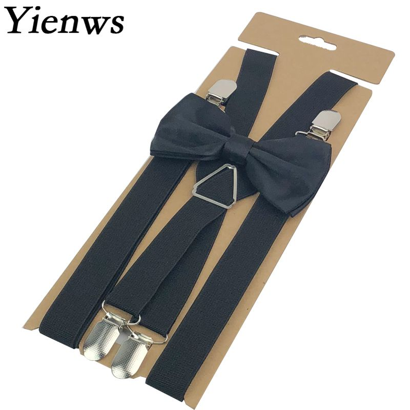 Yienws Black Brace Bowtie For Men 4 Clasp Casual Male Bow Tie Suspenders Adulto Jartiyer Wedding Party YiA065