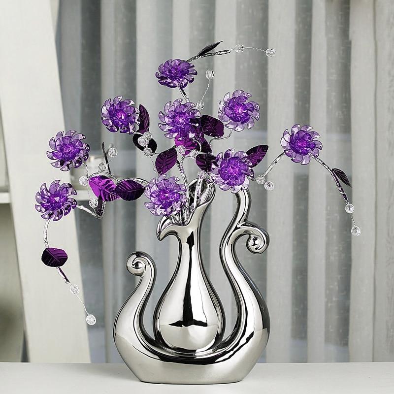 Top kwaliteit Crystal bloem Woondecoratie Ambachten creatieve keramische vaas beeldjes decoraties Miniaturen Huwelijksgeschenken-in Figuren & Miniaturen van Huis & Tuin op  Groep 1