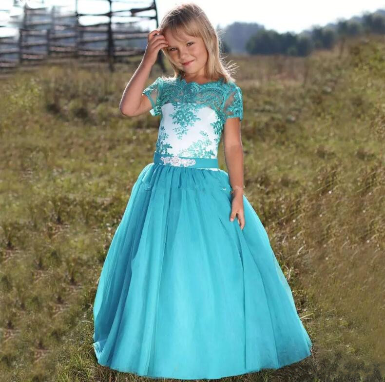 Фото New Blue Lace Flower Girl Dresses Jewel Short Sleeve Kids Formal Pageant Wear Wedding Party Gown Size 2-14Y