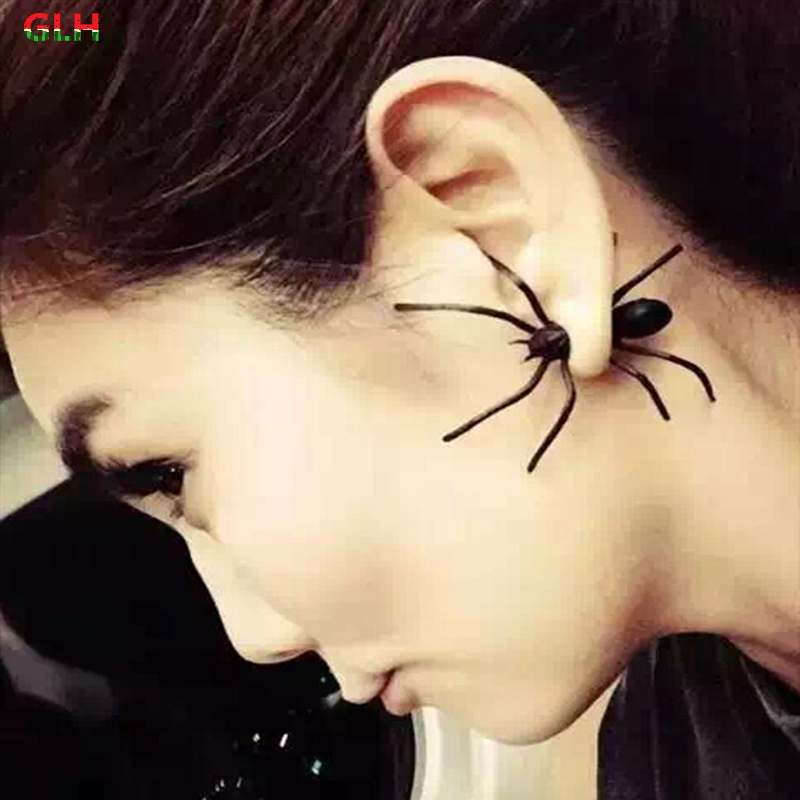 2016 new fashion jewelry girl cool black spider stud earrings female gift factory direct (single price)
