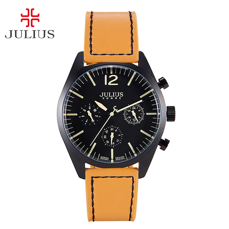 Real Fuctions Julius Men's Watch Fashion Homme Hour Dress Bracelet Japan Mov Leather Sport Clock Boy's Birthday Christmas Gift new julius men s homme wrist watch fashion hour dress bracelet japan mov leather business school boy birthday christmas gift