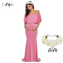 d0309527740 Купить получить один ребенок свободное платье рюшами средства ухода за  кожей для будущих мам платье фотосессии