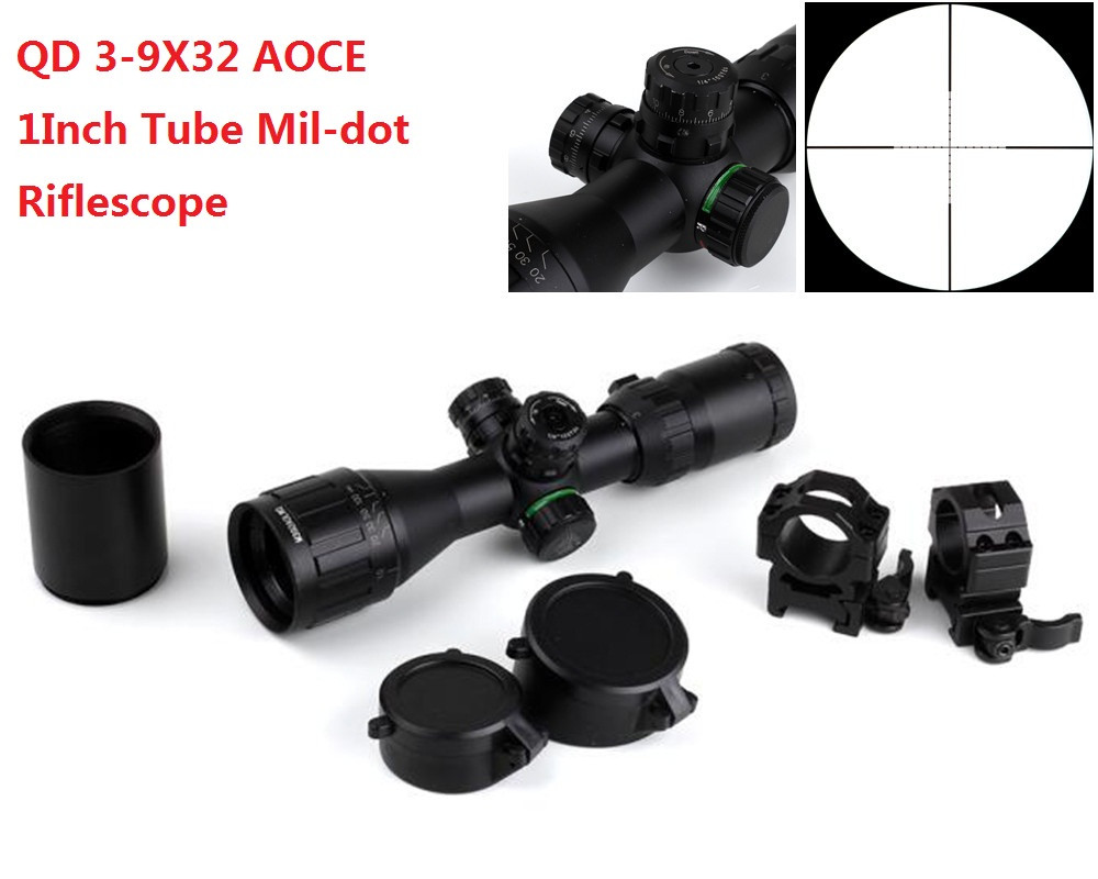 Hunting Illuminated 3-9X32 AOCE compact Rifle Scope Mil-dot Scopes & Sun Shade & Quick Detach Mount Tactical Riflescope Optics leapers utg 3 9x32 1maol mil dot hunting riflescope with sun shade tactical optical sight tube hunting equipment for hunter