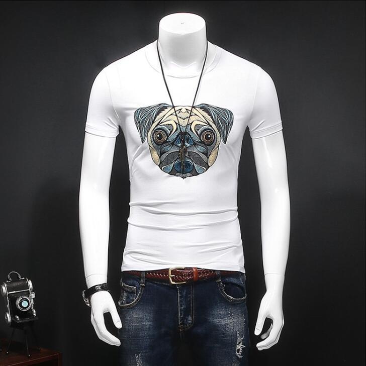 2017 Hot Sale Real Broadcloth Animal No Short Youth Mercerized Cotton Short-sleeve T-shirt Slim O-neck Basic Shirt Male Fashion