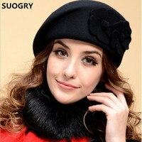 New 2015 Fashion Women Beret Hat For Women Beanie Female Cap Flower French Trilby Wool Soft
