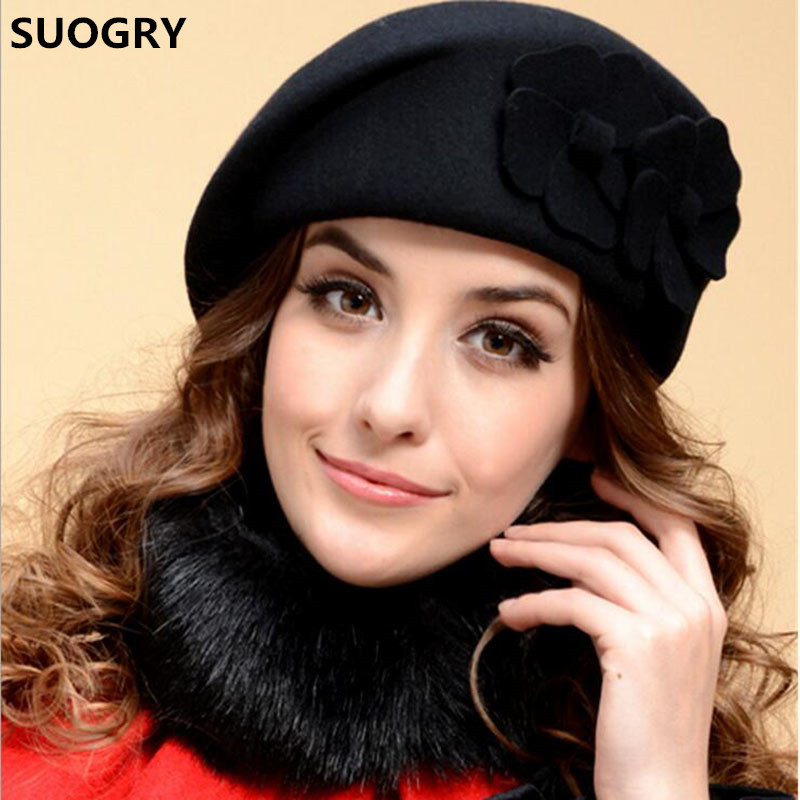 SUOGRY 2017 New Fashion Women Beret Hat For Women Beanie Female Cap Flower French Trilby Wool Soft Stewardess Hat Gorras Planas