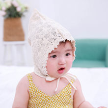 9534aab00 Spring and summer elf hat sweet princess girl hat children flower lace  flower tip top fashion baby hat