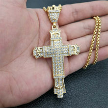 Religious Big Cross Pendant Necklace for Women/Men Gold Color Stainless Steel Crucifix Necklaces Male Christian Jewelry XL1139(China)