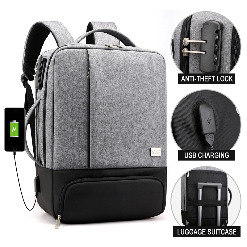 Image 2 - Anti Theft Backpack Women Men Laptop Bagpack 15.6 USB Charger Male Notebook Back Pack Travel School Bag Mochila Black Men's Bags-in Backpacks from Luggage & Bags