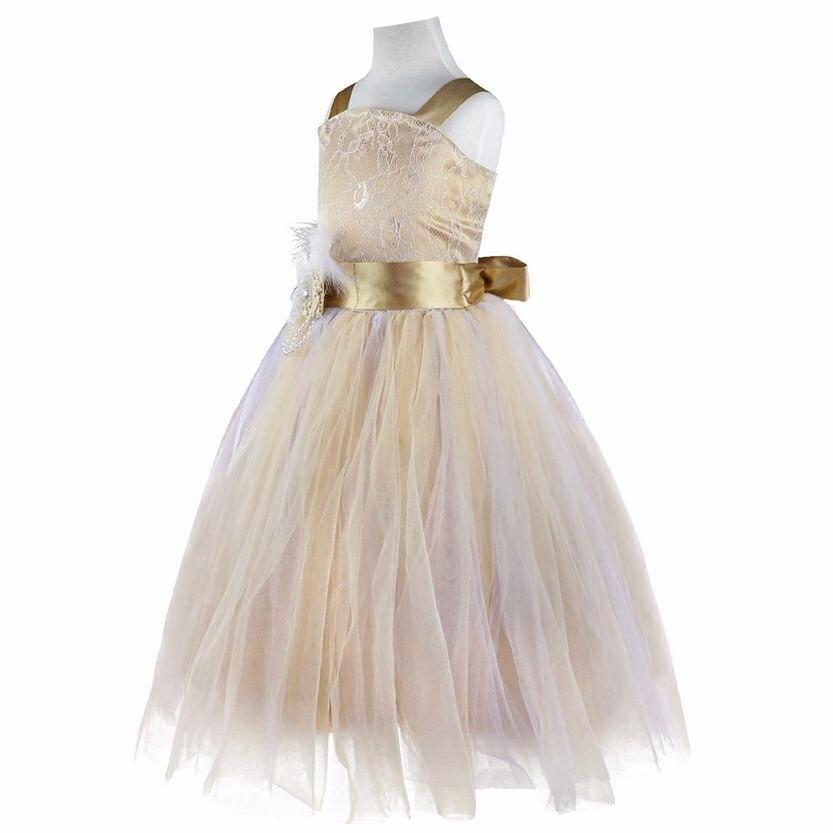 5991bca7369ed Iiniim fille élégante pour les robes de fête de mariage robe de princesse  blanche longue Tulle Costume de fête d anniversaire dentelle enfants  vêtements ...