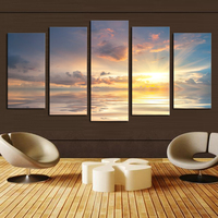 Unframed 5 Pcs Gray Sunset Seaview Picture Print Painting Modern Canvas Wall Art for Wall Decor Home Decoration Artwork
