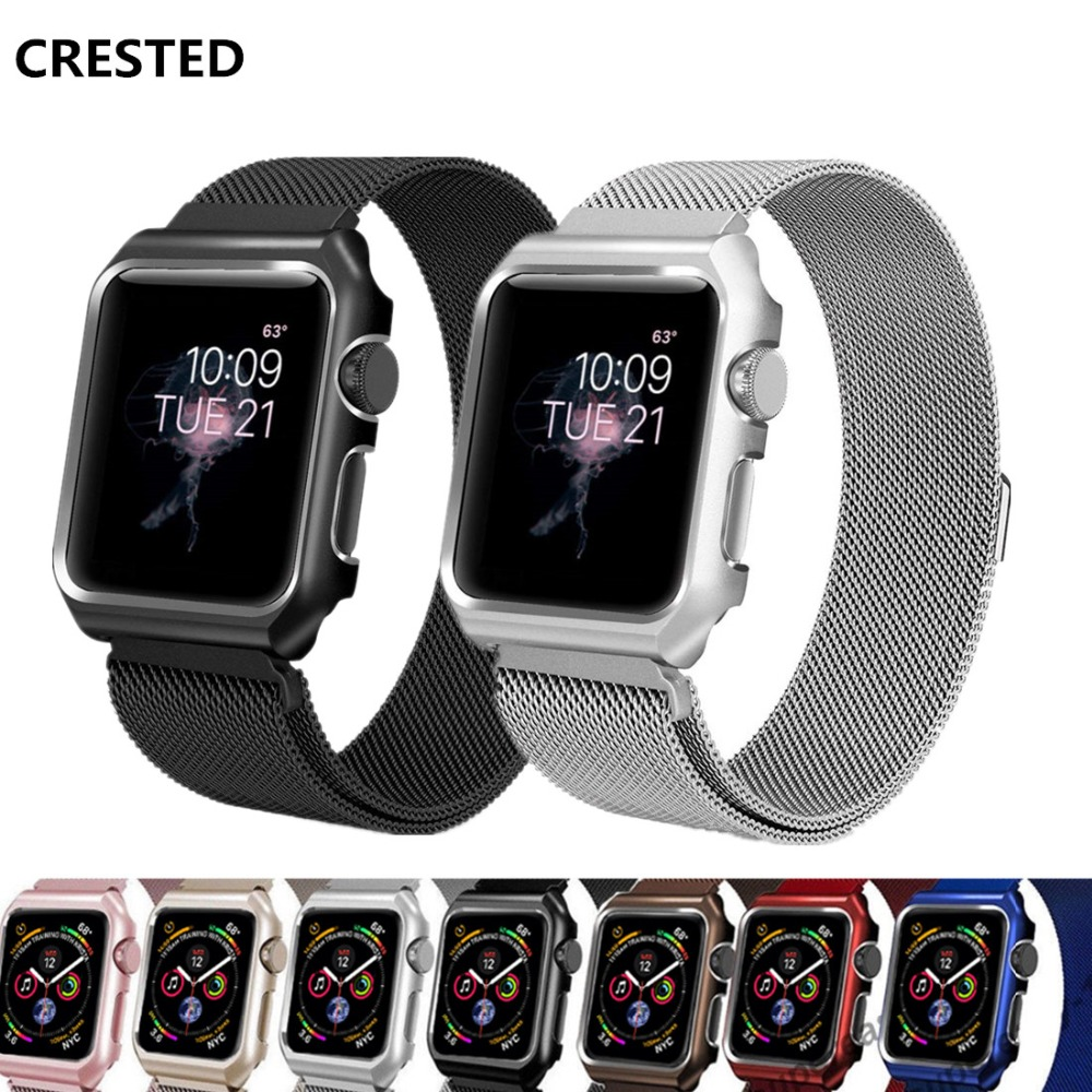 CRESTED case+Milanese strap For Apple Watch band 4 42mm 38mm 3 iwatch 44mm/40mm correa Stainless Steel link Bracelet wrist beltCRESTED case+Milanese strap For Apple Watch band 4 42mm 38mm 3 iwatch 44mm/40mm correa Stainless Steel link Bracelet wrist belt