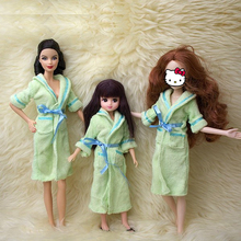 Doll Accessories Green Bathrobe For Barbie Bathroom Winter Pajama Sleeping Wear Casual Clothes For Barbie Doll House Toy Gift