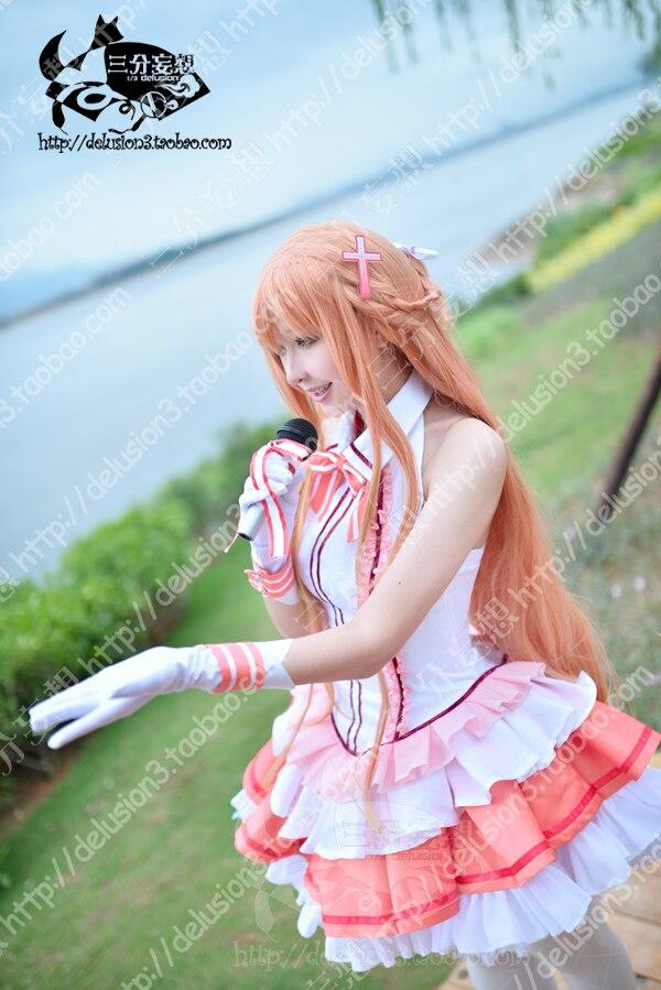 FSAO Sword Art Online Yuuki Asuna Idol ver Singer, розовое сценическое платье, карнавальный костюм, костюм на Хэллоуин для женщин