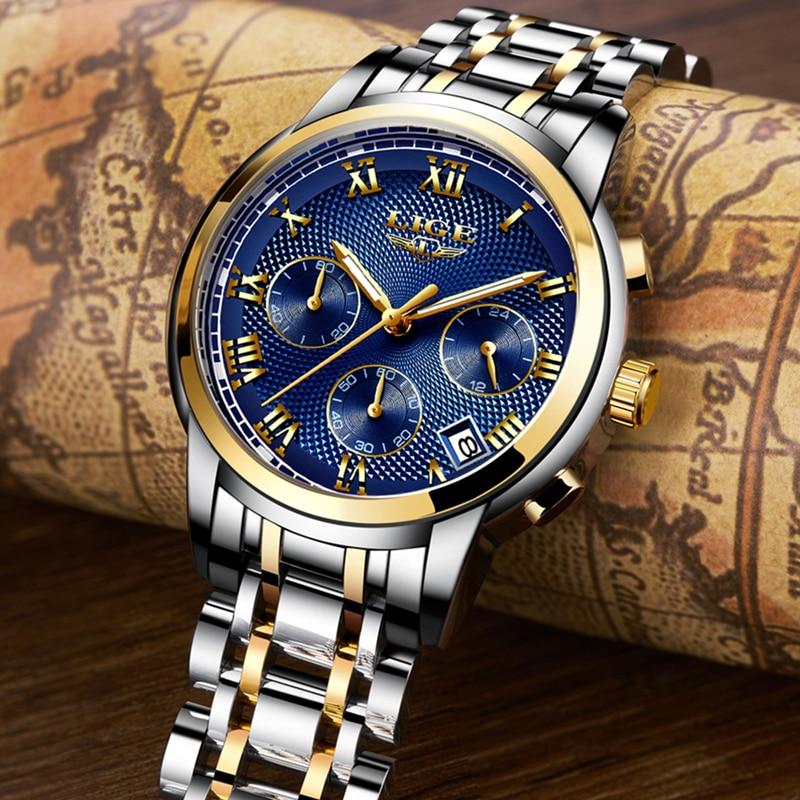 2018 New Watches Men Luxury Brand LIGE Chronograph Men Sports Watches Waterproof Full Steel Quartz Men's Watch Relogio Masculino 3