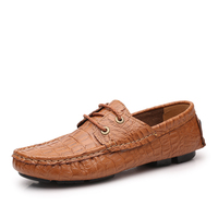 Cheap Big Size 38-50 US 11-15 Crocodile Pattern Embossed Leather Shoes For Mans Flats Loafers Boat True Cow Leather Shoes Men