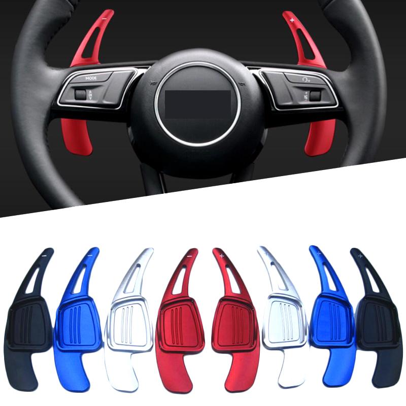 Car Steering Wheel Extension Shifters Shift Aluminum Shift Paddles for New Audi A4L A5 Q2 Q7 S3 S4 TT TTS 2016 2017 Blue Color