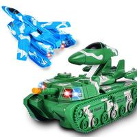 LeadingStar 2pcs Cartoon Electric Transformative Tank with Flash and Sound Children Universal Wheel Airplane Model Toy zk