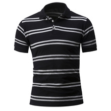 Brand 2017 Summer Mens business Korean Slim stripes short-sleeved polo shirt Men Homme Cotton Short Male
