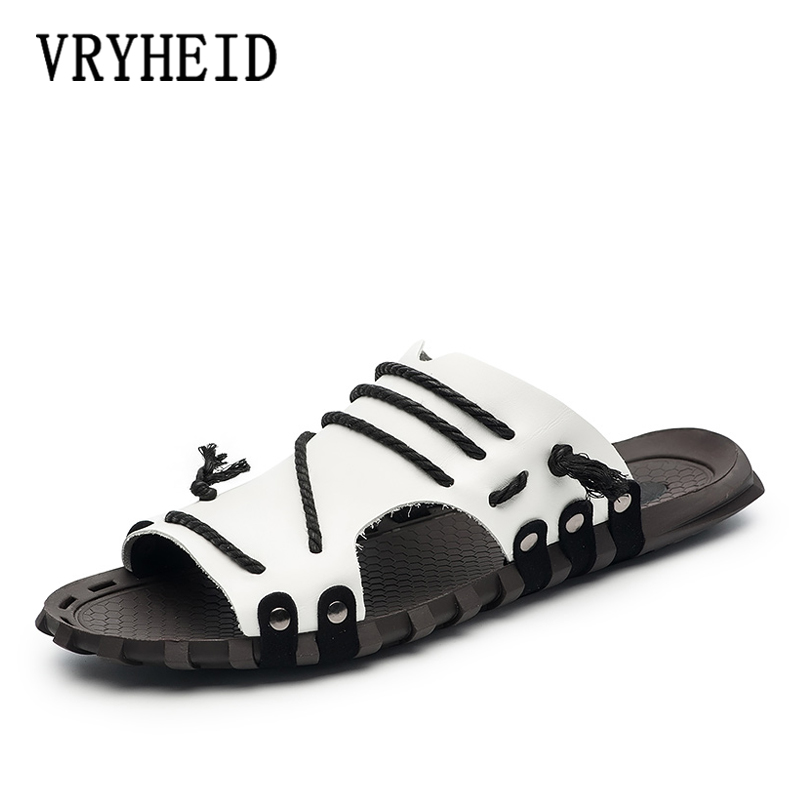 VRYHEID Brand Casual Men Sandals Summer Tide Mens Flip Flops Rivet British Man Beach Sandals Lazy Pedal Flip Flop Size 38 -47