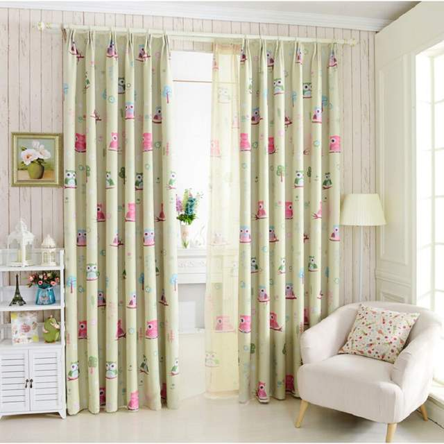 Us 4 56 24 Off Owl Printed Blue Yellow Curtains For Children Fabric Nursery Cloth Sheer Tulle Baby Room Bedroom Blinds Wp220b In