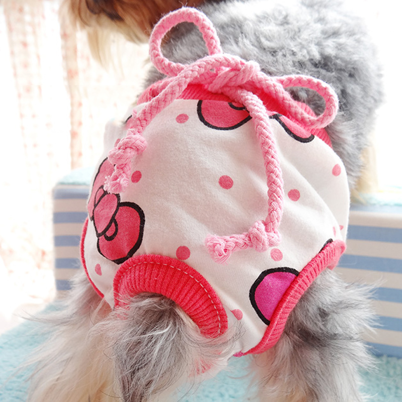 Pets Panties Dog Star Bows Sanitary Cotton Physiological Underwear Diapers For Puppis S M L Cat Animals Diapers Accessories