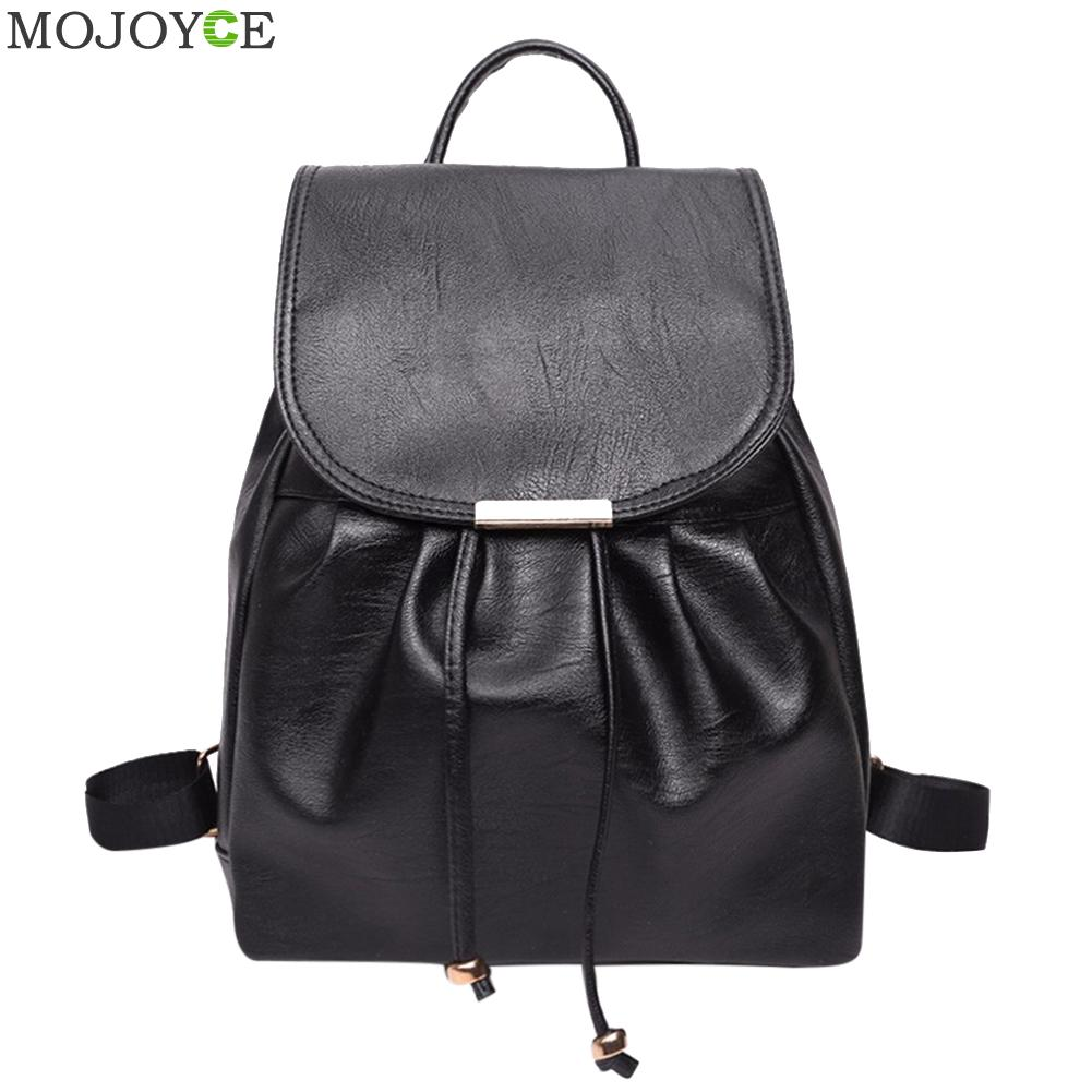Classic PU Leather Backpack Women Casual Drawstring Backpack Travel  School Bags for Teenage Girls Black Bagpack sac a dos sendefn genuine leather backpack large capacity rivet black shoulder bag women casual backpack teenage girls school travel bags