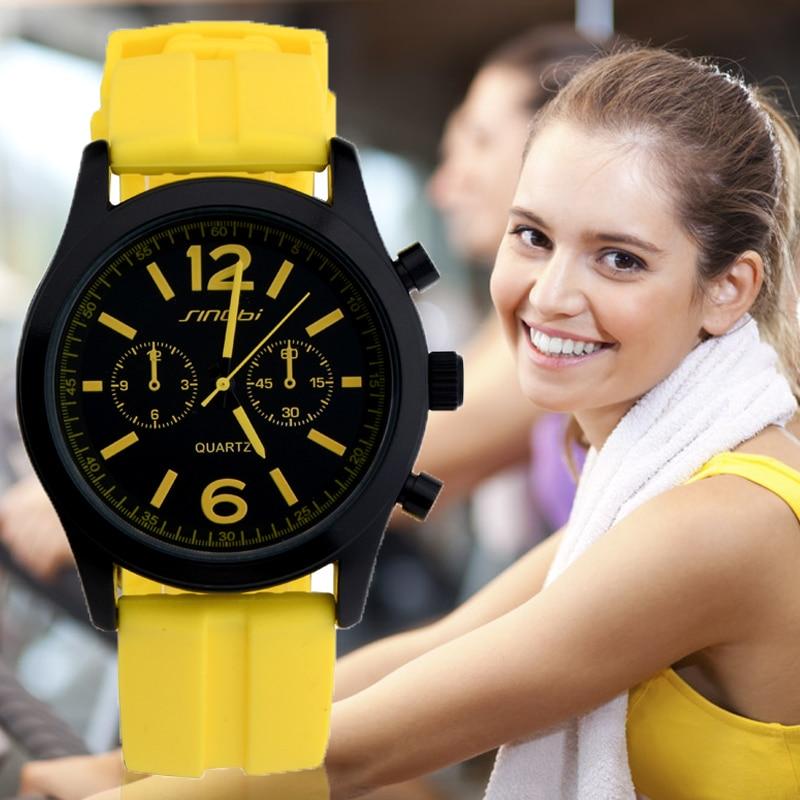 Prix pour SINOBI Femmes Montres de Sport De Mode de Marque Femme En Caoutchouc Horloge Dames Silicone Montre À Quartz Reloj Deportivo Mujeres G72