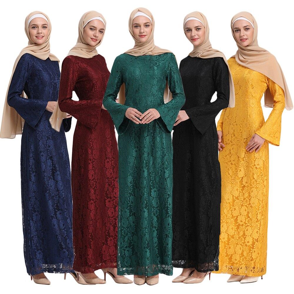 9 couleurs nouvelle mode robes musulmanes grande taille Abaya Dubai femmes Flare manches Slim manches longues dentelle Ramadan vêtements islamiques